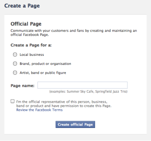 Create an artist's Facebook page