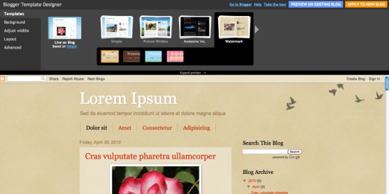 Example of blogger template designer