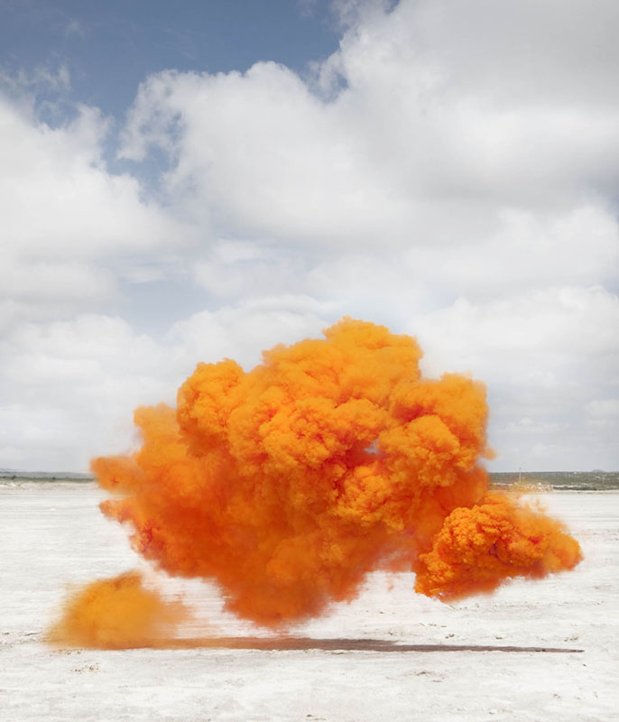 Transient smoke bombs and temporal installation photography by Lola Guerrera