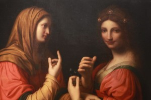 The Circle of Leonardo da Vinci - Modesty & Vanity. (After Bernardino Luini, the painting depicts the conversion of the Magdalene but also serves as an allegory between modesty and vanity).