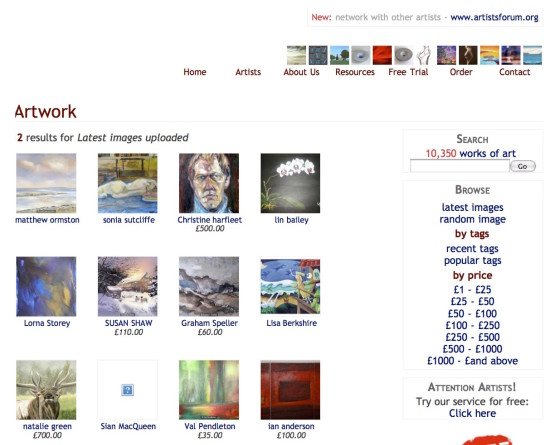 A very early ArtWeb - back when it was The Artists Web